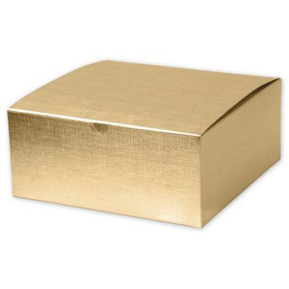 Mariage - 10 Large Square Gold Linen Foil Gift Boxes 8x8x3.5