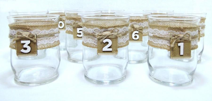 Mariage - Wedding Vase Table Numbers Candle Holders Glass Vase Burlap and White or Ivory Lace Wedding Candle Holder Table Number Rustic Centerpieces