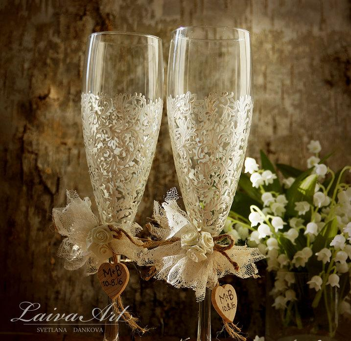 Mariage - Rustic Wedding Champagne Flutes Wedding Champagne Glasses Wedding Toasting Flutes Wedding