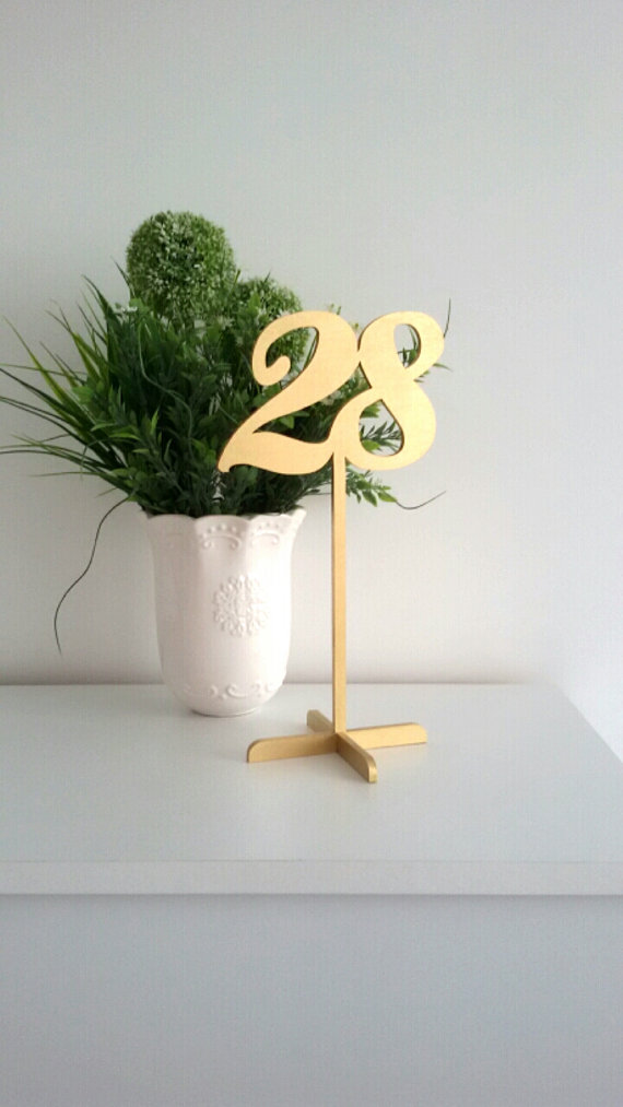 Mariage - Gold Table Numbers with base. Freestanding Wedding Numbers. Table numbers. Numbers for tables. Numbers. Gold numbers.