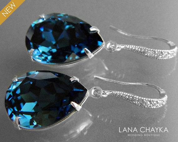 Navy Blue Montana Crystal Earrings Swarovski Rhinestone Dangle Wedding Silver Bridal Bridesmaid Dark Jewelry