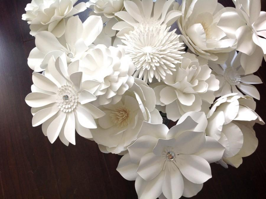 Mariage - White Paper flowers set of 12 stems