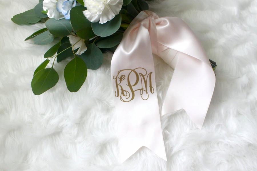 Mariage - Custom Monogram Bouquet Ribbon - Bridal Bouquet Monogram, Bridesmaid Bouquet Monogram