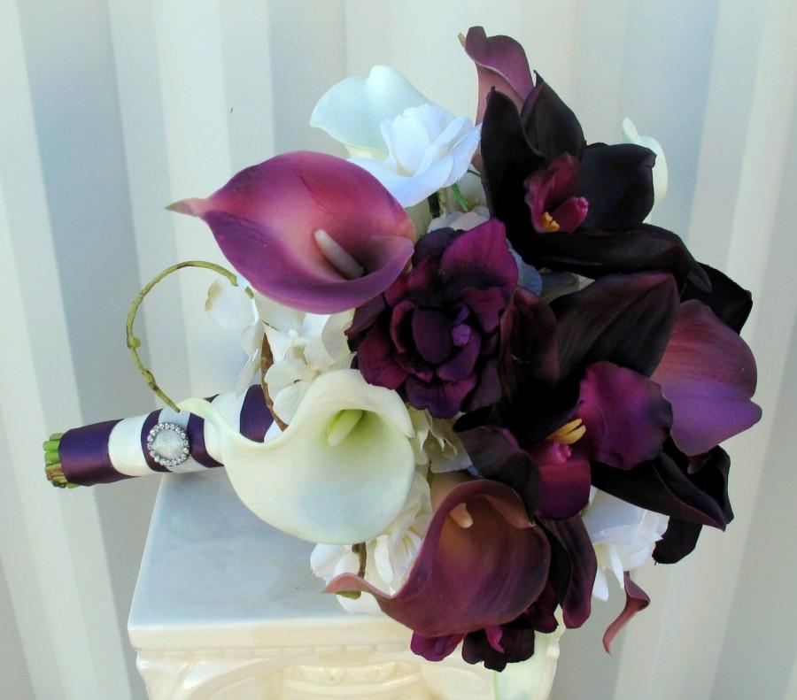 Mariage - Plum Wedding bouquet real touch calla lily orchid bridal bouquet