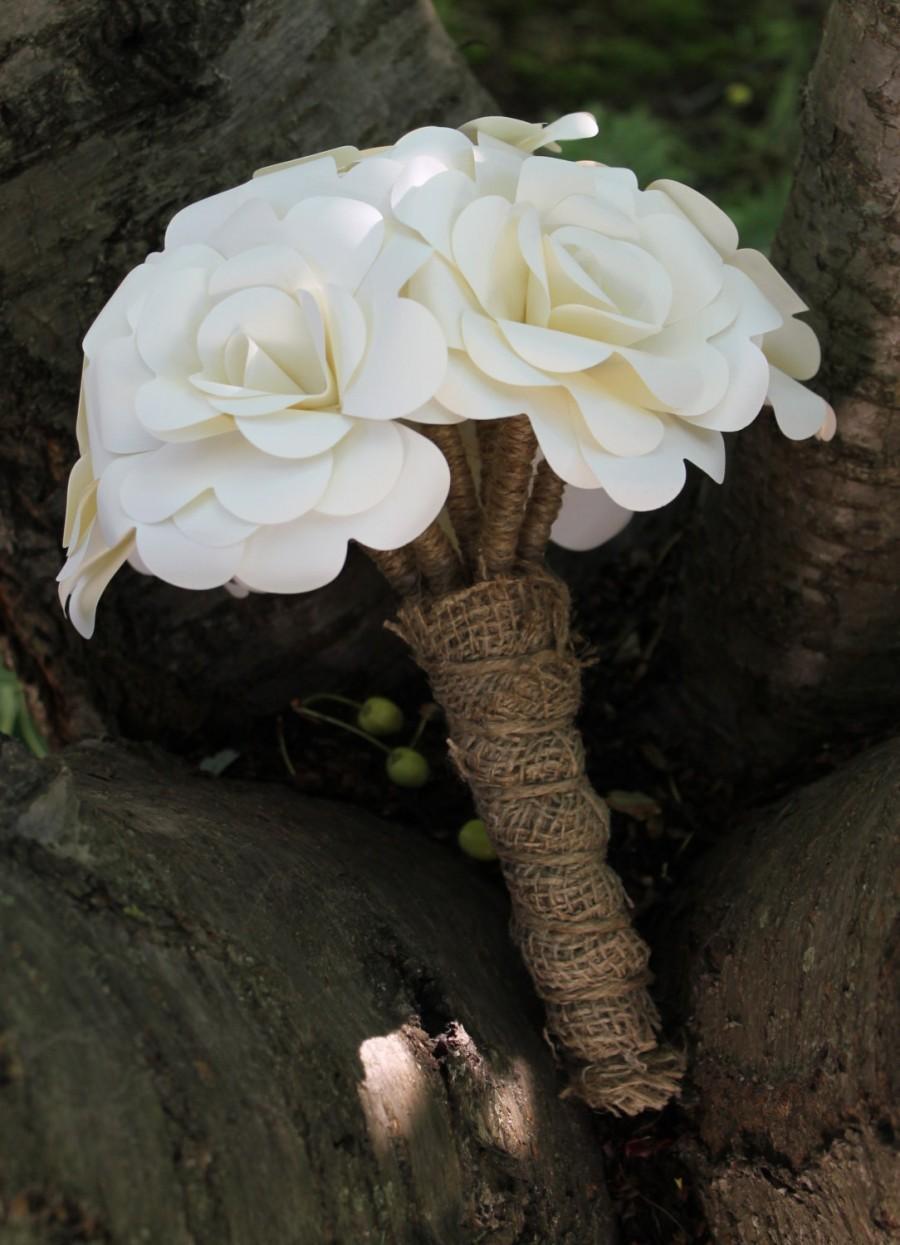 Mariage - Paper Rose Bouquet (Any Colour) - Bride - Bridesmaid - Rustic Wedding