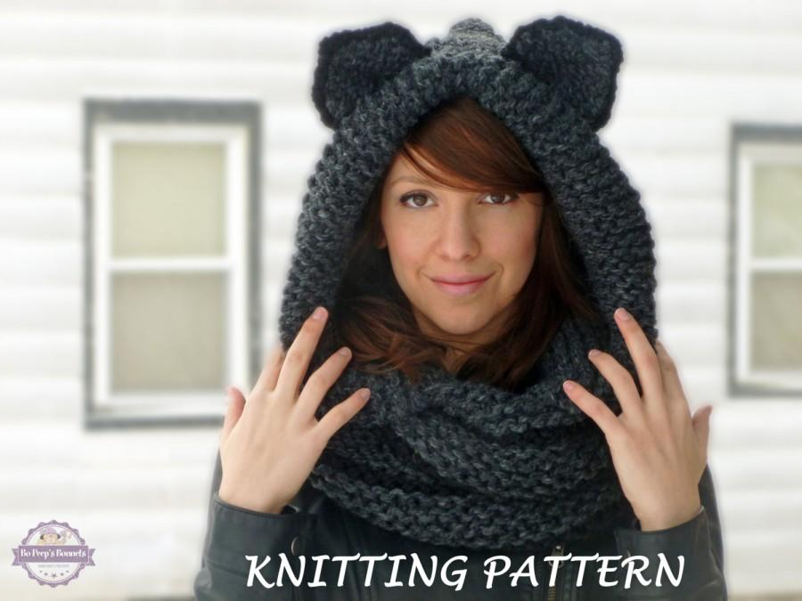 Knitting Pattern Hooded Cat Cowl Cat Ears Hooded Infinity Scarf