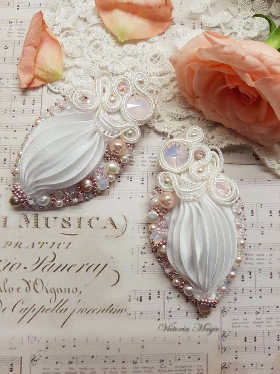 Wedding - Wedding Shibori earrings- Shibori Earrings- Shibori Ribbon embroidery Earrings- Shibori Ribbon Earrings- Wedding earrings-earrings for bride