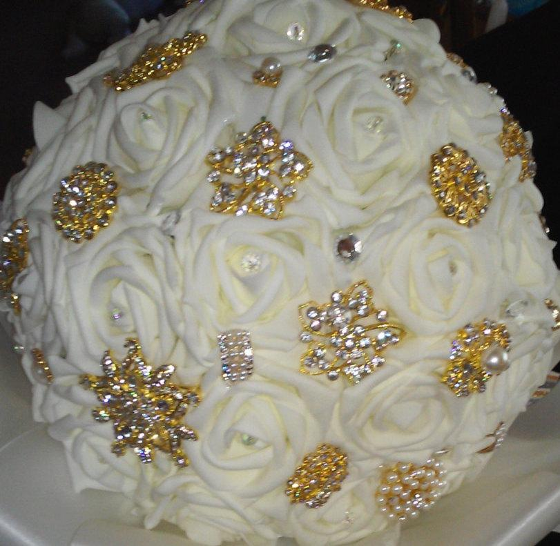 Свадьба - Real Touch Rose Brooch Bridal Bouquet Wedding Flowers