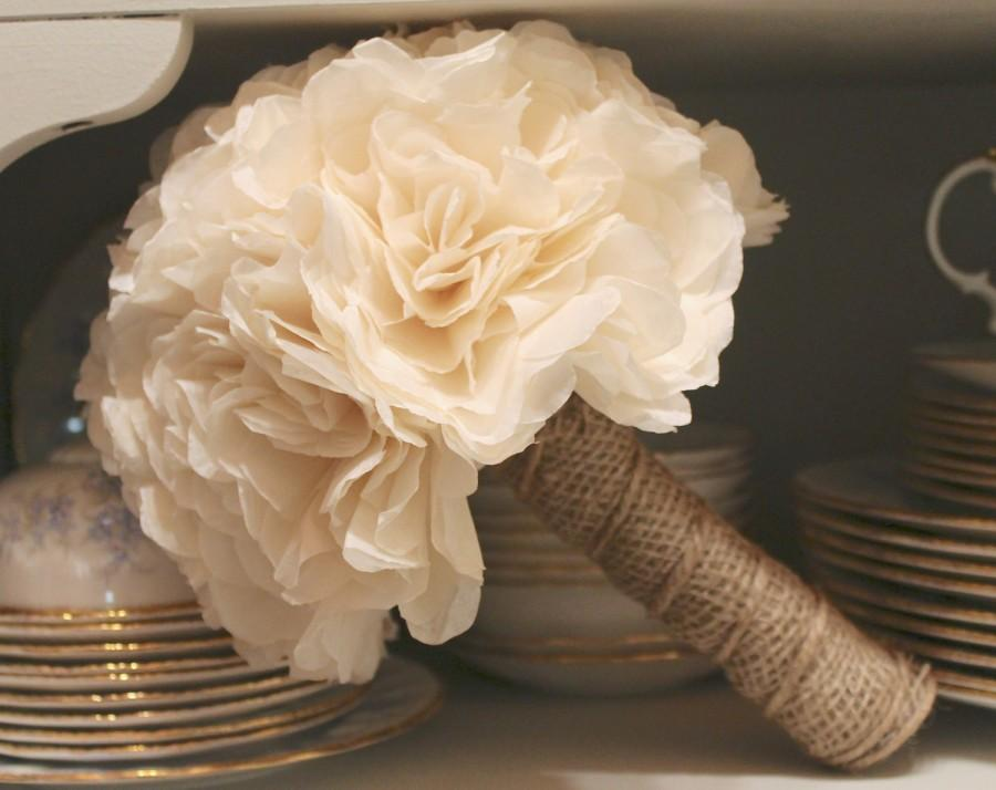 Свадьба - Ivory and Burlap Bridal Bouquet - Rustic - Country Wedding - Summer - Autumn