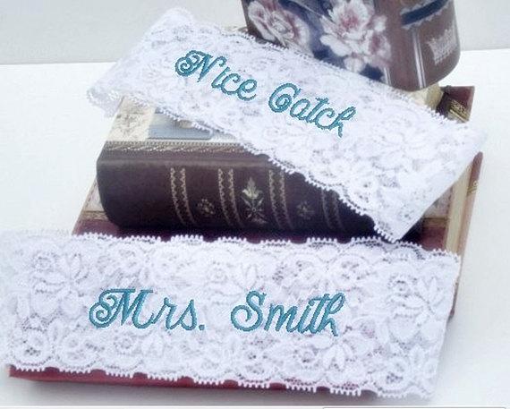 Свадьба - Wedding Garter, Bride's Garter, Personalized, Custom, Embroidered Monogram Lace Garter
