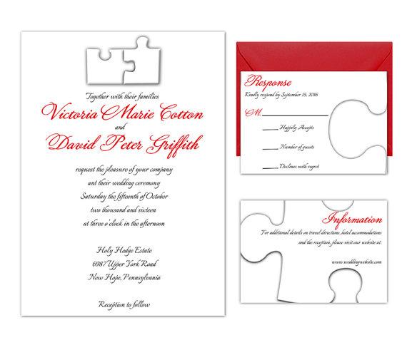 Edit Wedding Invitation Card: Puzzle Pieces Wedding Invitation Suite