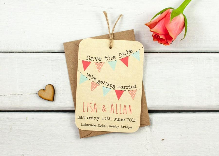 زفاف - Rustic bunting save-the-date - coral peach mint