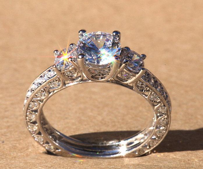 Mariage - Diamond Engagement Ring - VINTAGE style - 1.85 carat Round - 14K white gold - Luxury- Brides- Engagement -bp006