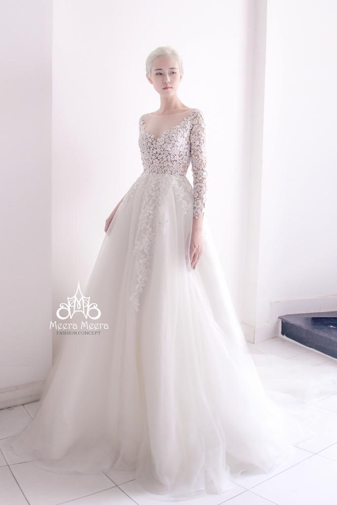 4448f25cfa50 A-line wedding dress with long sleeves and Illusion neckline from Meera  Meera