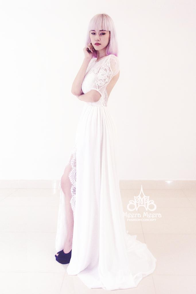 Wedding - Silk with French lace night gown wedding dress from Meera Meera