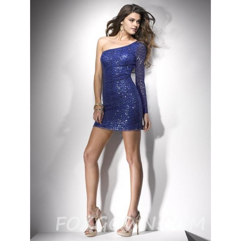 Wedding - Kobalt Sexy One-Sleeve Sequin Mini Prom Kleid - Festliche Kleider