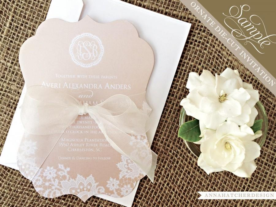 Sample: Champagne & Lace Ornate Die Cut Wedding Invitation / Paper
