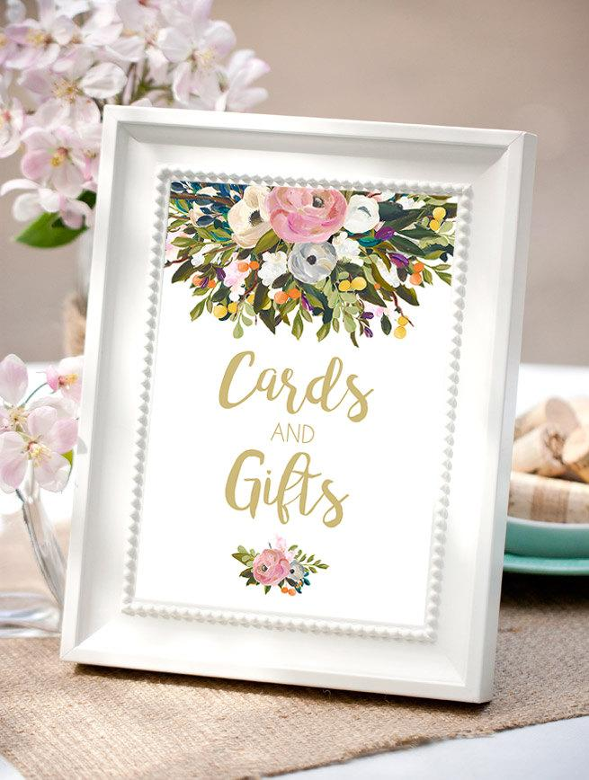 Bridal shower table signs bridal shower decorations for Wedding gift decoration