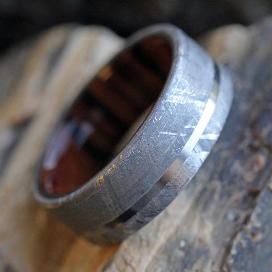 Meteorite Ring With Wood Sleeve Unique Mens Jewelry Meteorite