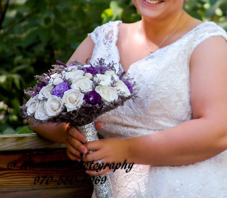 Hochzeit - Bling! Ivory, lavender and purple Sola Flower Rose Bouquet with rhinestone handle