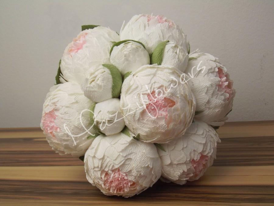 Hochzeit - Bridal bouquet,paper flower, peonies paper flower,wedding bouquet,paper bridal bouquet,flower paper,cream peonies, white peonies paper