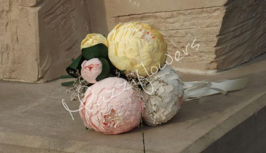 Hochzeit - Bridal bouquet,paper flower,bridesmaids bouquet,wedding bouquet,peony cream,bridal peony,bridal flower,flowers paper bouquet,wedding flower.