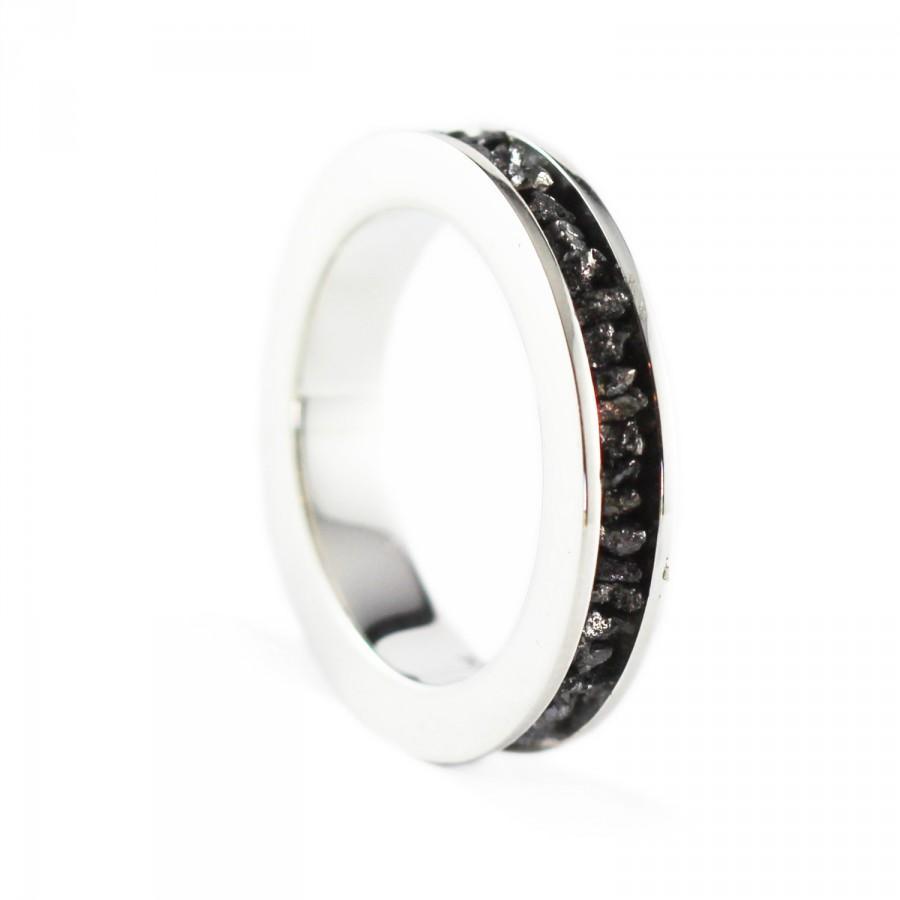 Свадьба - Black Diamond Ring Uncut 14k White Gold Wedding Band Set Personalize Jewelry