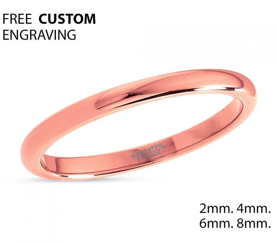 Wedding - 2mm Rose Gold Tungsten Wedding Band,Ladies Tungsten Ring,18k Rose Gold,Anniversary Band,Comfort Fit,Engagement Band,High Polish Tungsten