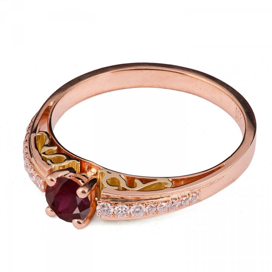 Two Tone Ruby Ring 18K Yellow And Rose Gold Engagement Ring Unique Engagem