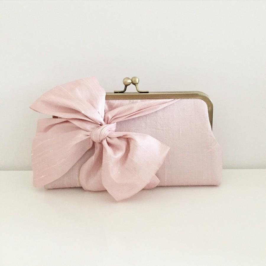 Hochzeit - Dusty Rose Silk Bridal Clutch, Pink Bow Clutch, Personalized Clutches for Your Bridesmaids, Pink Bridal Clutch, Wedding Purse, Style C002