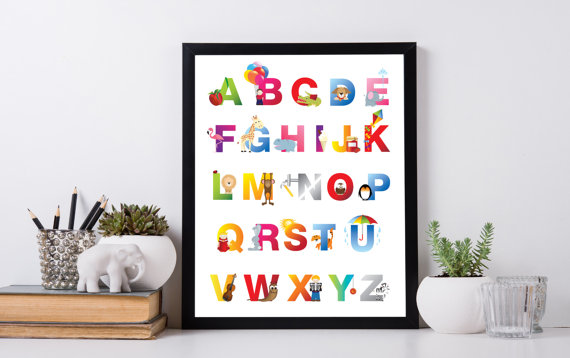 Kids Alphabet Art Letters Print Woodland Nursery Abc Wall Baby Shower Present New Instantart1
