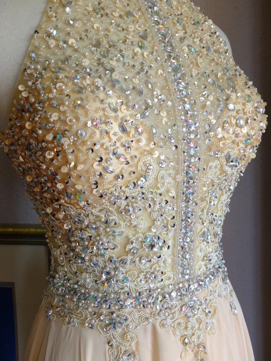Mariage - Wedding Dress Crystal beaded sequined Ginger Rogers 1930s Champagne chiffon ballgown
