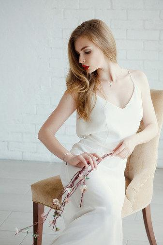 Mariage - Crepe silk wedding dress with open back, natural fabric wedding dress, simple wedding dress, sexy wedding dress