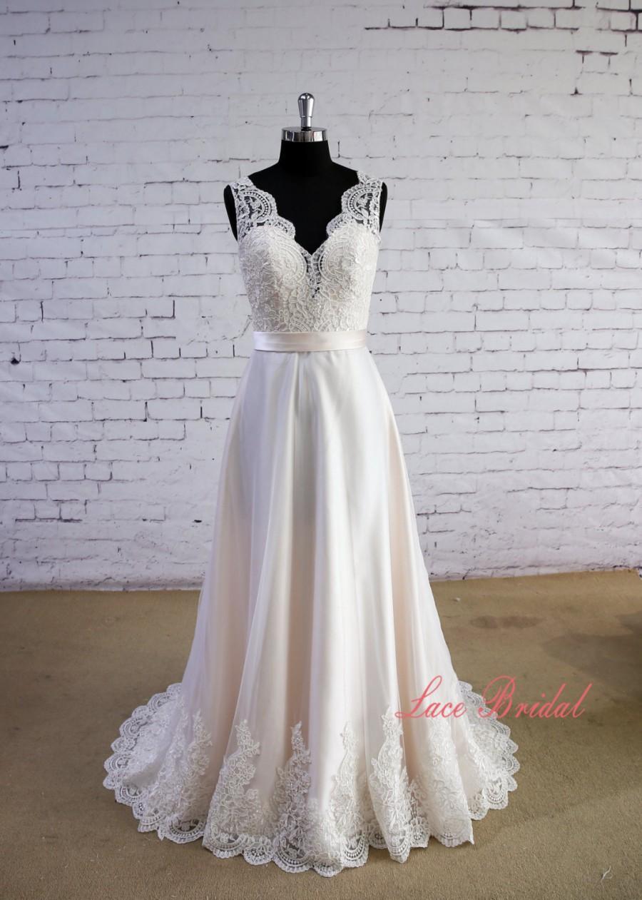 Special wheat color wedding dress v neck wedding dress v for Ivory color wedding dress
