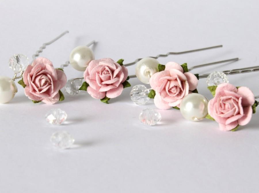 Wedding - Blush Pink Rose Hair Pins, Wedding Hair Pins, Bridal Hair Accessories, Bridesmaid Hair Pins, Rose and Pearl Hair Pins