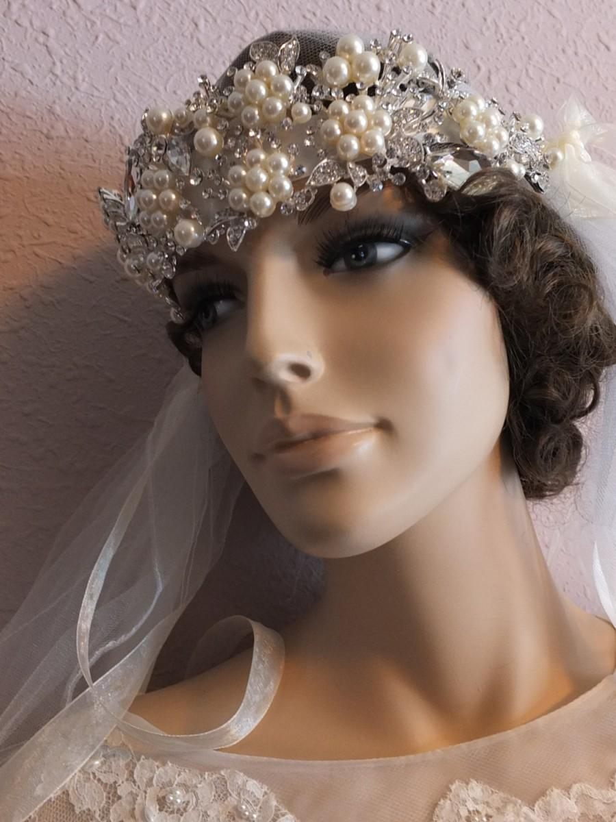 Свадьба - 1920s 1930s Flapper gatsby pearl rhinestone beaded wedding head piece tiara veil