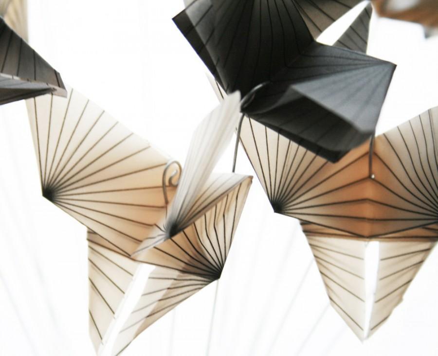 Mariage - Geometric Butterflies Bouquet - translucent origami - paper decor - cream and gray, gift idea, origami sculpture by Nikki Cross Applesauce