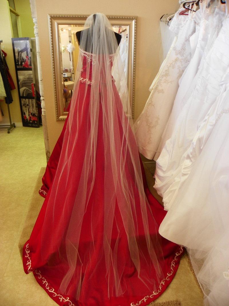 "Wedding - Cathedral wedding veil long 108"" White, Ivory, Diamond white"