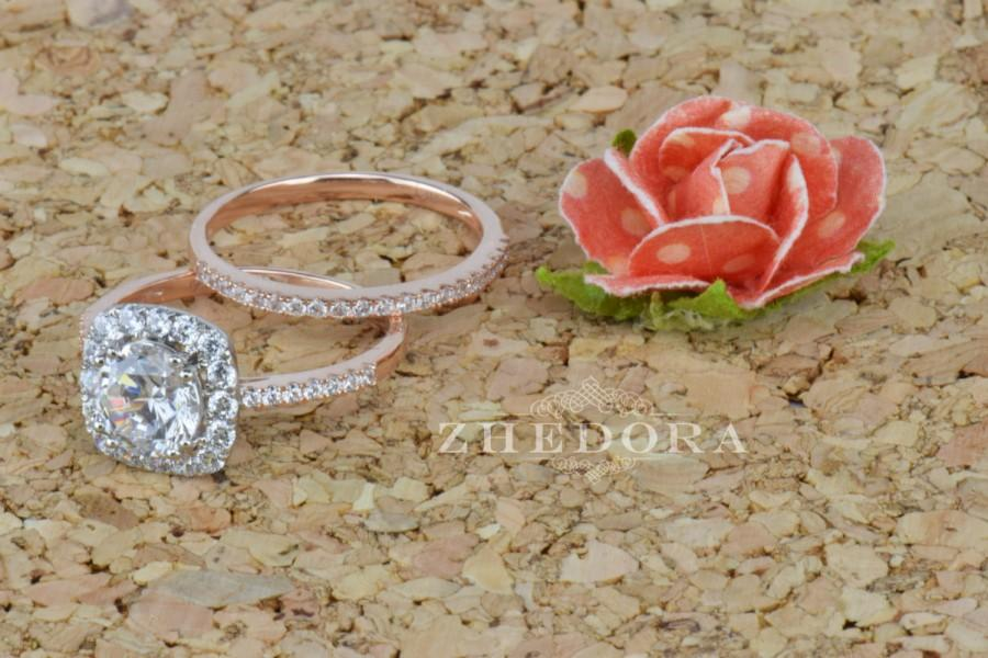 Hochzeit - 2.20 CT Round Halo Engagement Ring band Bridal set Solid 14k Rose & White Gold, Unique Rose Gold Engagement Rings by Zhedora