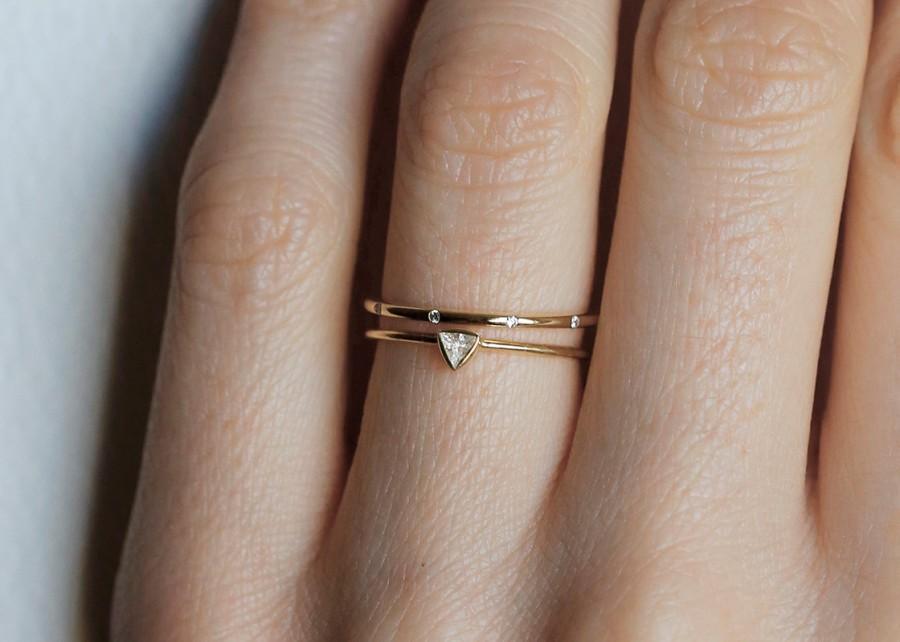 Mariage - Trillion Wedding Set, Wedding Ring Set, Diamond Ring Set, Trillion Diamond Ring