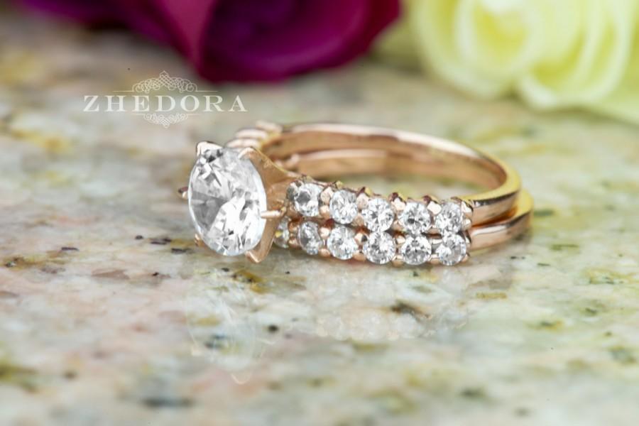 Mariage - 2.50 CT Engagement Bridal Ring band set Round Cut SOLID 14k or 18K Rose Gold Amorphous Lab-Created Diamond, Wedding Ring Set