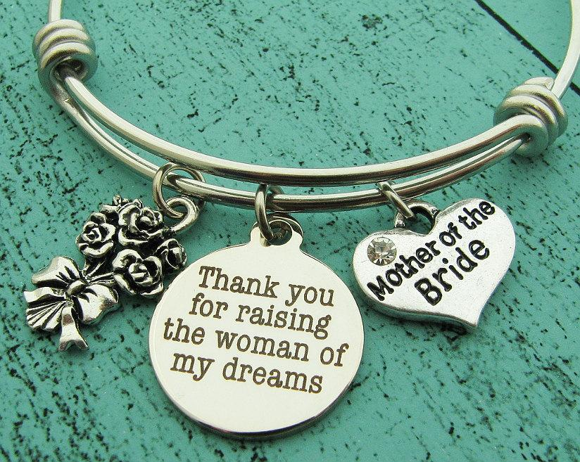 Mariage - mother of the bride gift from groom, thank you for raising the woman of my dreams, gift for mother in law to be, wedding gift jewelry
