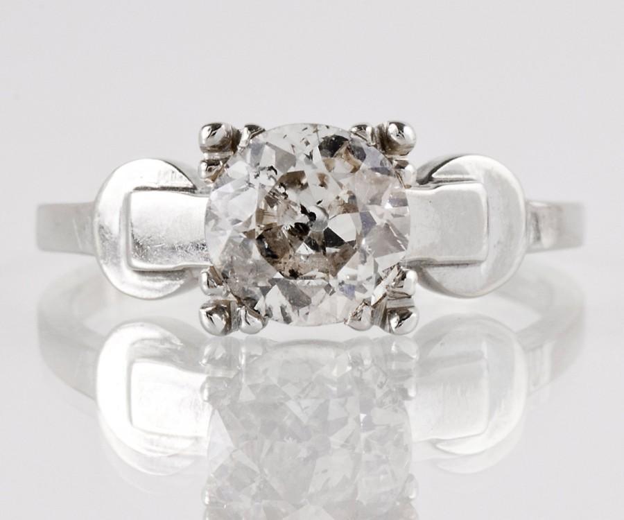 Mariage - Antique Engagement Ring - Antique 14k White Gold Diamond Engagement Ring