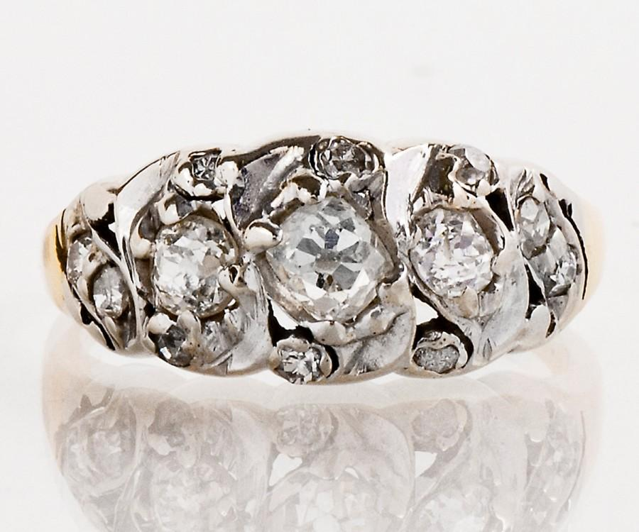 Mariage - Antique Band - Antique Victorian 14k Yellow and White Gold Mine Cut Diamond Band