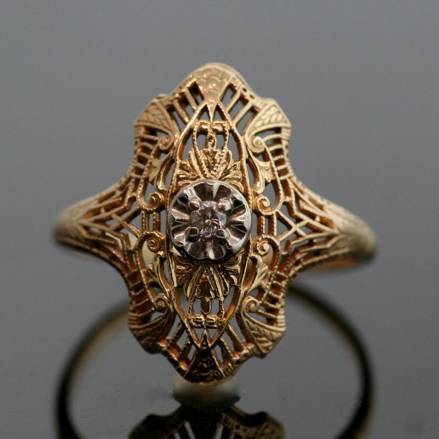 Свадьба - Vintage Ring - Vintage 14k Two-Tone Gold and Diamond Filigree Ring