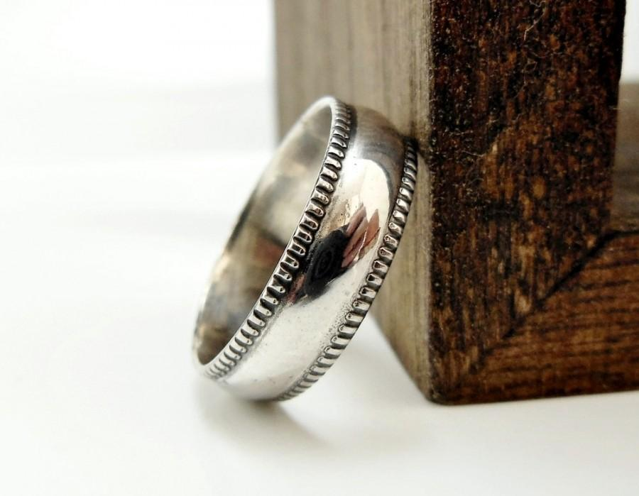 Свадьба - Sterling Silver Ring, Milgrain Ring, Simple Wedding Band, Mens Jewelry