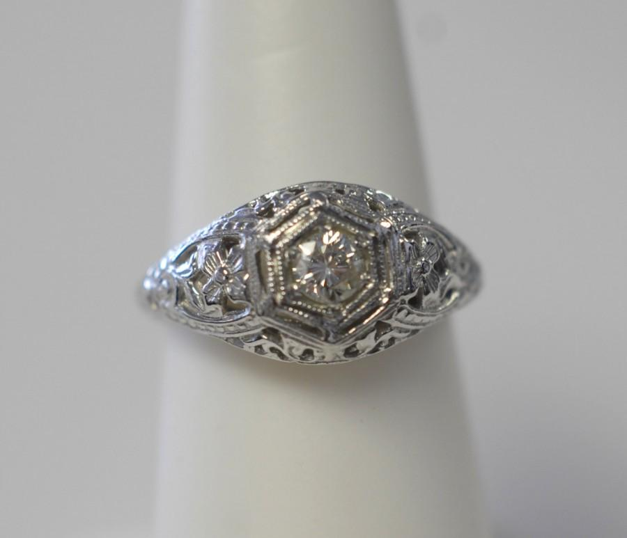 Mariage - Antique Filigree and Engraved Diamond Ring