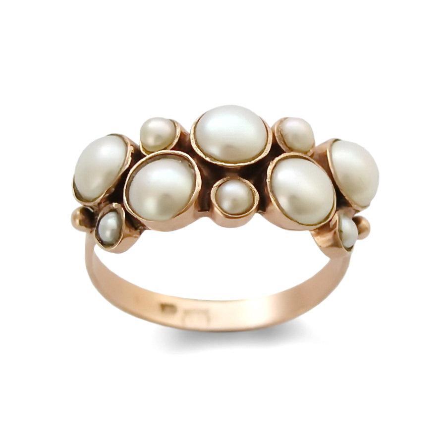 زفاف - 14k Rose gold with freshwater pearls Engagement Pearls Gold ring, Wedding Ring vintage Statement Ring, Multistone Handmade classic Jewelry