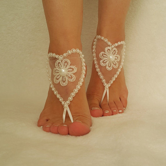 Hochzeit - ivory beach wedding barefoot sandals anklet beach pool lace bangle steampunk pearls handmade bridesmaid gift foot accessories jewelry