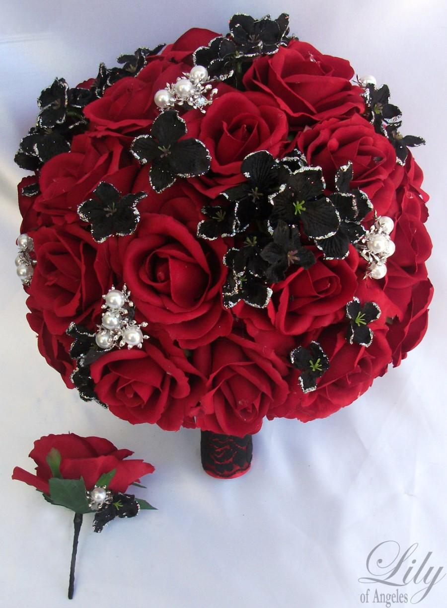 "زفاف - 2 pieces Wedding Bridal Bride Bouquet Groom Boutonniere Gem Jewelry Jewel RED BLACK ""Lily of Angeles"" REBK07"